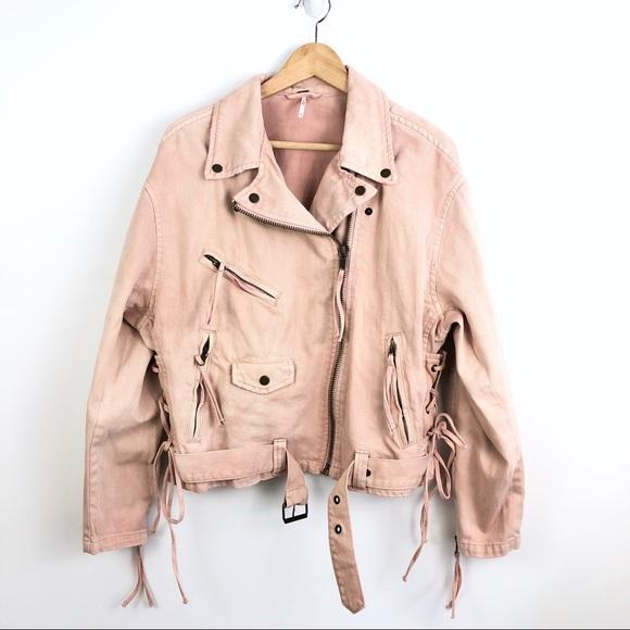 Free People Jackets & Blazers - Free People Pink Oversize Denim Moto Jacket